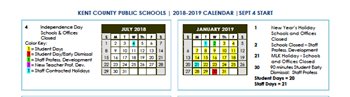 "Below is the draft of the 2018/2019 School calendar. Please email Mr. Ed Silver (esilver@kent.k12.md.us) with any questions or concerns.     <a href=""http://filecabinet7.eschoolview.com/9B4D3087-E773-49AE-B5E5-54B8A00BA38B/KCPS2018_19Calendar__1.pdf"">Calendar </a>"