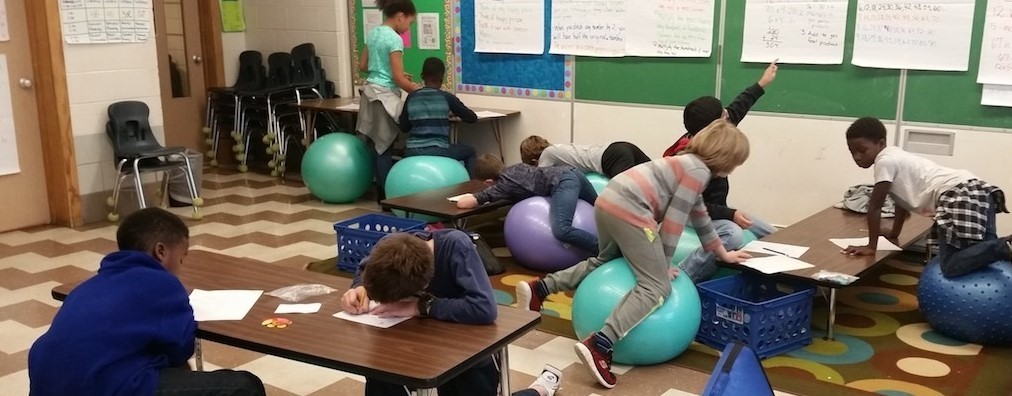 Ms. Bigelow's students enjoy flexible seating slideshow image